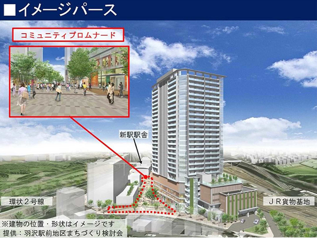 羽沢横浜国大駅の完成予想パース